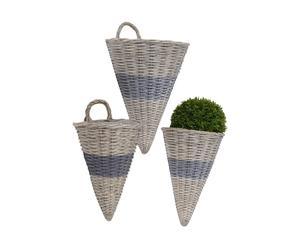 3 Porte plantes Rotin, Naturel et bleu - L30