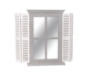 Miroir Paulownia et verre, Gris et blanc - L50