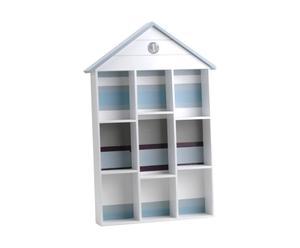 Étagère Cabine de plage Papier, Blanc et bleu - L40