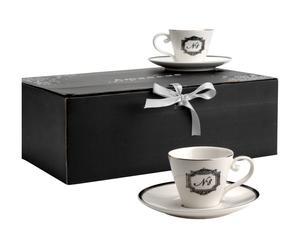 6 Tasses à Expressos  Porcelaine, Blanc et noir -  Ø9