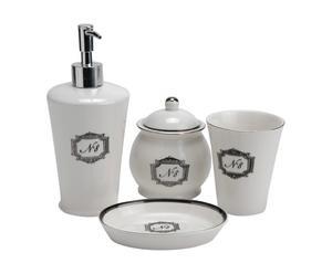 4 Accessoires salle de bains  Porcelaine, Blanc et noir - L13