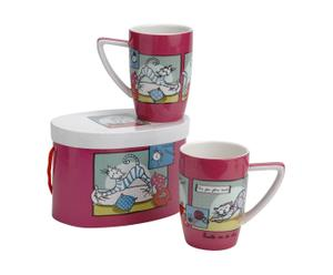 2 Tasses Porcelaine, Rose - L12