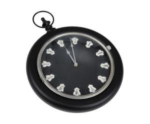 Horloge Anneau Verre Et Métal, Noir et blanc - L39
