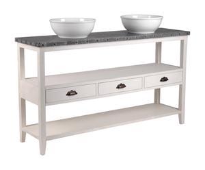 Meuble de salle de bain Acajou et MDF, Blanc et gris - L150