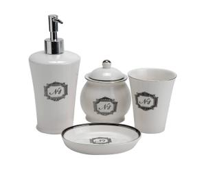 4 Accessoires de salle de bain Porcelaine  - Noir et Blanc