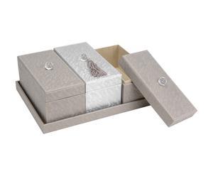 1 Plateau et 3 Boîtes Polyester - Taupe et Gris