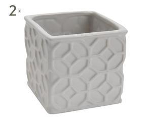 2 Vases Porcelaine, Blanc - H23