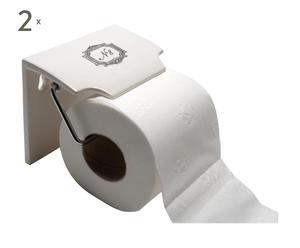 2 Dérouleurs de papier toilette Porcelaine, Blanc et noir - L19