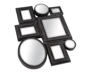 8 Miroirs Fer et verre, Noir – H76