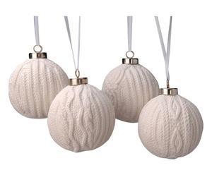 4 Boules de Noël Porcelaine, Blanc - H10