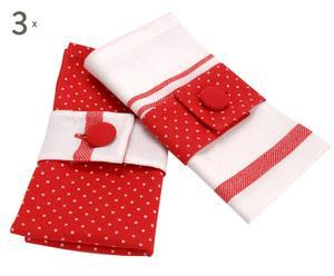 6 Serviettes Coton, Rouge et blanc - 40*40