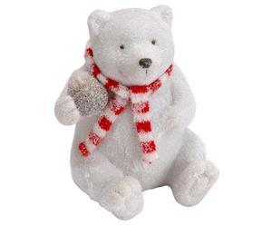 Ours de Noël Polyrésine et Lin, Rouge et blanc - H15