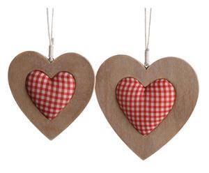 2 Cœurs décoratifs Paulownia, Beige et rouge - L22