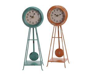 2 Horloges Métal, Orange et vert - H42