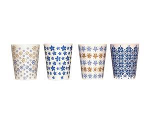 4 Gobelets fleurs des Alpes Céramique, Bleu - Ø7