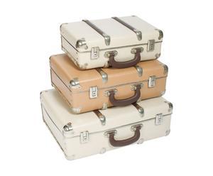 3 Valises style années 1950 Carton, bois et métal, beige et camel