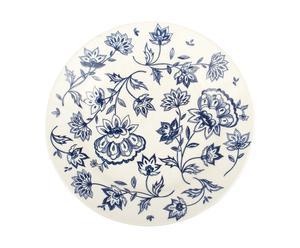 Assiette Porcelaine, Crème et bleu - Ø21