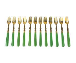 12 Fourchettes Vermeil, Vert et vermeil - L17