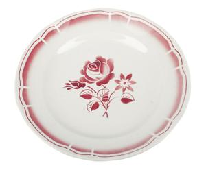Plat de service Porcelaine, Blanc et rouge - Ø29