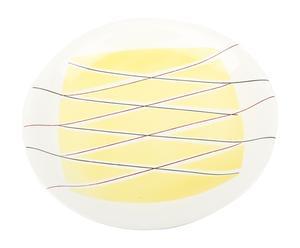 Plat de service Porcelaine, Blanc et jaune - Ø30