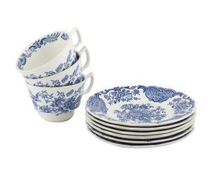3 Tasses et 3 soucoupes Porcelaine, blanc et bleu - Ø10