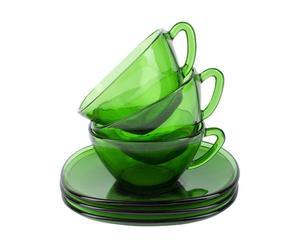 3 Tasses à café et 3 soucoupes Verre, Vert - Ø9
