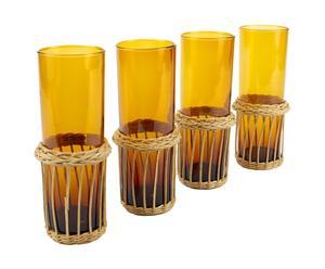 4 Verres et sous-verres verre et paille, orange - H18