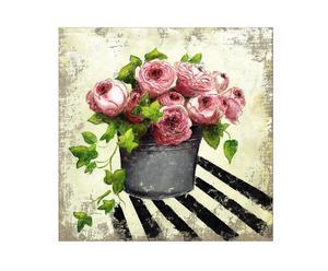 Peinture sur toile Roses de Ronsard, lin - 30*30