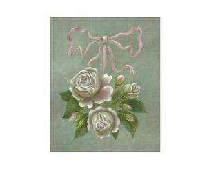 Peinture sur toile roses et ruban, lin – 22*27