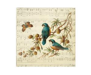 Peinture sur toile oiseaux en été, lin - 20*20