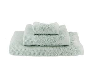 1 Serviette d'invité, 1 Serviette de toilette et 1 Drap de douche Isodore rice Coton, Vert d'eau