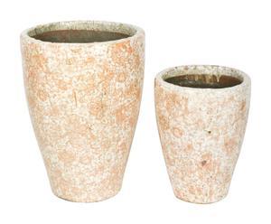 2 Pots Terre cuite, Corail - H32