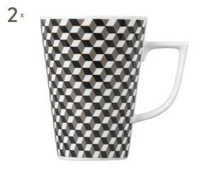 2 Mugs KIM, Porcelaine - Ø8