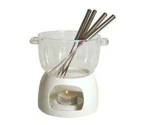 Set à fondue KYRA Porcelaine et verre, Multicolore - Ø15
