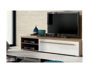 Meuble TV Bois, Naturel et beige - L160