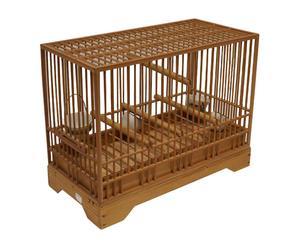 Cage à oiseaux Bambou et hinoki, Marron - L36
