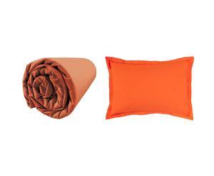 1 Drap Housse et 1 Taie d'oreiller Percale de Coton, Orange