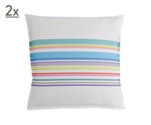 2 Taies d'oreiller Percale de Coton, Multicolore - 65*65
