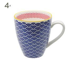 4 Mugs AMEE Porcelaine, Bleu - Ø15