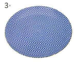3 Assiettes GEO I Porcelaine, Bleu et blanc - Ø21