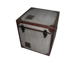 Coffre, cuir et bois - L40
