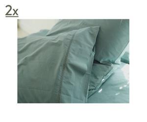 2 TAIES D'OREILLER PERCALE ajourée coton, vert d'eau – 65*65