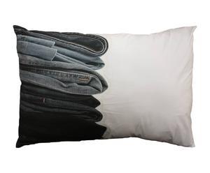 Taie d'oreiller CLEO Coton, Blanc et bleu - 70*50