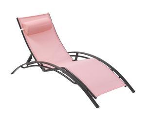 Chaise longue Aluminium et textilène, Rose et noir - L190