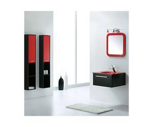 Ensemble de salle de bain chêne et céramique, Noir et rouge - 7 Pièces
