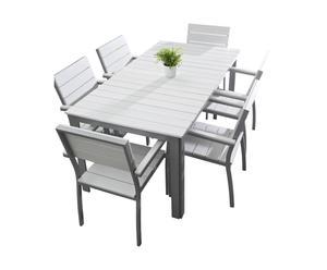 Table Aluminium et bois, Gris et blanc - l170