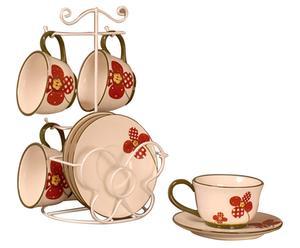 Service à café céramique, rouge et beige – 9 pièces