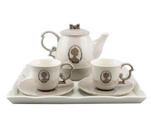 Service à thé céramique, beige et gris – 7 pièces