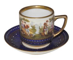 4 tasses à café porcelaine, bleu et doré - Ø5