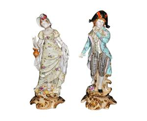 2 Figurines Porcelaine, Multicolore - H50